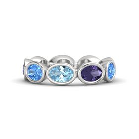 Oval Aquamarine Sterling Silver Ring with Iolite & Blue Topaz
