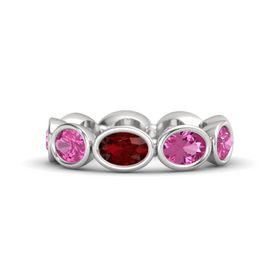 Oval Ruby Sterling Silver Ring with Pink Sapphire