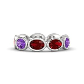 Oval Ruby Sterling Silver Ring with Ruby & Amethyst
