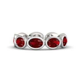 Oval Ruby Sterling Silver Ring with Ruby