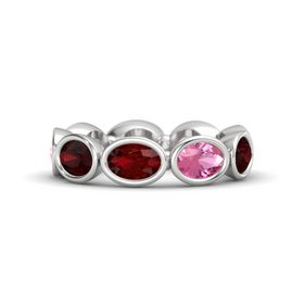 Oval Ruby Sterling Silver Ring with Pink Tourmaline & Red Garnet