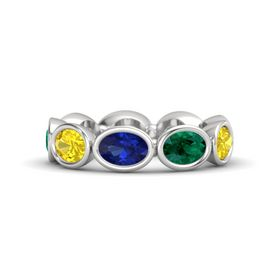Oval Sapphire Sterling Silver Ring with Emerald & Yellow Sapphire
