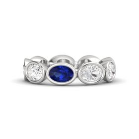 Oval Sapphire Sterling Silver Ring with White Sapphire