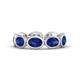 Oval Sapphire Sterling Silver Ring with Sapphire