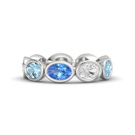 Oval Blue Topaz Sterling Silver Ring with White Sapphire & Aquamarine
