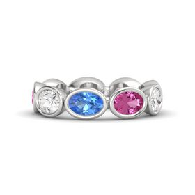 Oval Blue Topaz Sterling Silver Ring with Pink Sapphire & White Sapphire