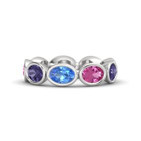 Oval Blue Topaz Sterling Silver Ring with Pink Sapphire and Iolite