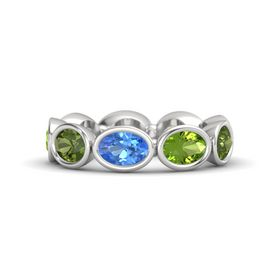 Oval Blue Topaz Sterling Silver Ring with Peridot & Green Tourmaline