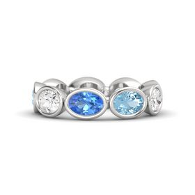 Oval Blue Topaz Sterling Silver Ring with Aquamarine and White Sapphire