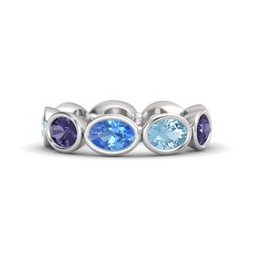 Oval Blue Topaz Sterling Silver Ring with Aquamarine & Iolite