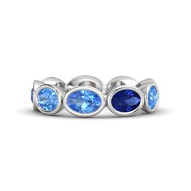 Oval Blue Topaz Sterling Silver Ring with Blue Sapphire and Blue Topaz