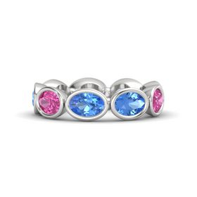 Oval Blue Topaz Sterling Silver Ring with Blue Topaz and Pink Sapphire