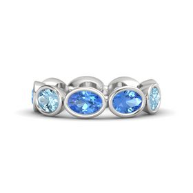 Oval Blue Topaz Sterling Silver Ring with Blue Topaz and Aquamarine