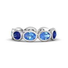 Oval Blue Topaz Sterling Silver Ring with Blue Topaz and Blue Sapphire