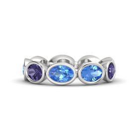 Oval Blue Topaz Sterling Silver Ring with Blue Topaz and Iolite