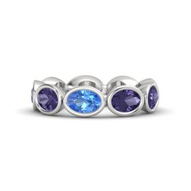 Oval Blue Topaz Sterling Silver Ring with Iolite