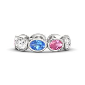 Oval Blue Topaz Sterling Silver Ring with Pink Tourmaline and White Sapphire