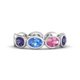 Oval Blue Topaz Sterling Silver Ring with Pink Tourmaline & Iolite