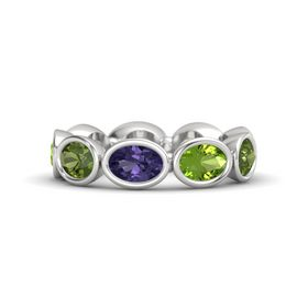 Oval Iolite Sterling Silver Ring with Peridot & Green Tourmaline