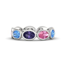 Oval Iolite Sterling Silver Ring with Pink Tourmaline & Blue Topaz