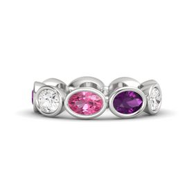 Oval Pink Tourmaline Sterling Silver Ring with Rhodolite Garnet and White Sapphire