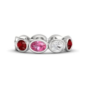 Oval Pink Tourmaline Sterling Silver Ring with White Sapphire & Ruby
