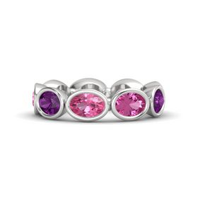 Oval Pink Tourmaline Sterling Silver Ring with Pink Sapphire & Rhodolite Garnet
