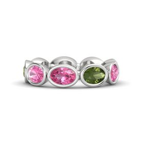 Oval Pink Tourmaline Sterling Silver Ring with Green Tourmaline and Pink Tourmaline