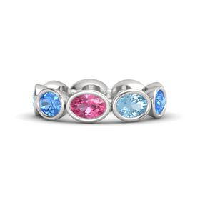Oval Pink Tourmaline Sterling Silver Ring with Aquamarine and Blue Topaz