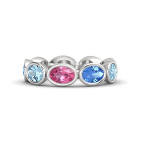 Oval Pink Tourmaline Sterling Silver Ring with Blue Topaz and Aquamarine