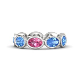 Oval Pink Tourmaline Sterling Silver Ring with Blue Topaz