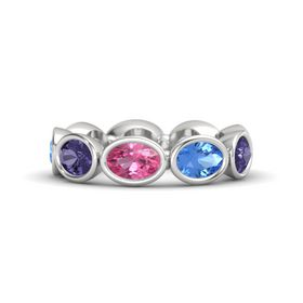 Oval Pink Tourmaline Sterling Silver Ring with Blue Topaz and Iolite