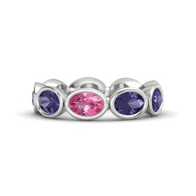 Oval Pink Tourmaline Sterling Silver Ring with Iolite