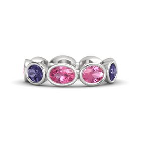 Oval Pink Tourmaline Sterling Silver Ring with Pink Tourmaline & Iolite