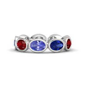 Oval Tanzanite Sterling Silver Ring with Blue Sapphire and Ruby