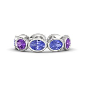 Oval Tanzanite Sterling Silver Ring with Tanzanite and Amethyst