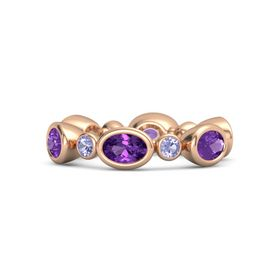 14K Rose Gold Ring with Amethyst & Tanzanite