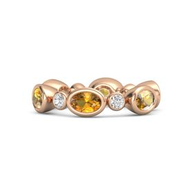 14K Rose Gold Ring with Citrine and White Sapphire