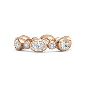 14K Rose Gold Ring with White Sapphire & Diamond