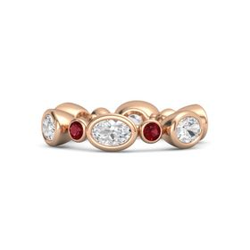 14K Rose Gold Ring with White Sapphire and Ruby