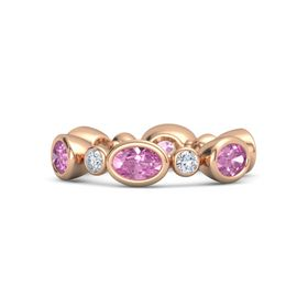 14K Rose Gold Ring with Pink Sapphire and Diamond