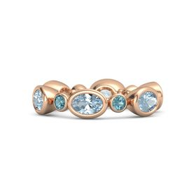14K Rose Gold Ring with Aquamarine and London Blue Topaz
