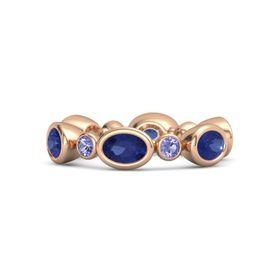 14K Rose Gold Ring with Blue Sapphire and Iolite