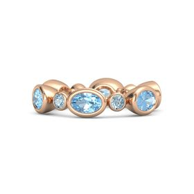 14K Rose Gold Ring with Blue Topaz and Aquamarine