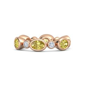 14K Rose Gold Ring with Yellow Sapphire and Diamond