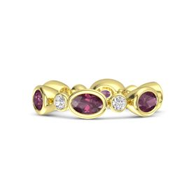 14K Yellow Gold Ring with Rhodolite Garnet and White Sapphire