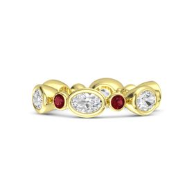 14K Yellow Gold Ring with White Sapphire & Ruby
