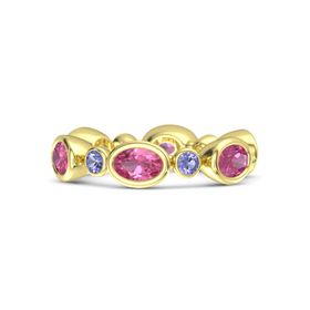 14K Yellow Gold Ring with Pink Tourmaline and Iolite