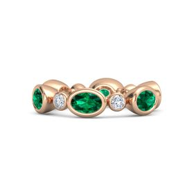 18K Rose Gold Ring with Emerald & Diamond