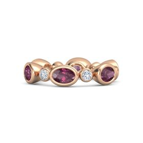 18K Rose Gold Ring with Rhodolite Garnet & Diamond